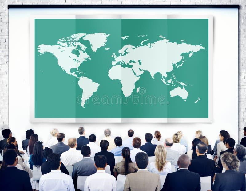 Globalización Co internacional de la cartografía del negocio global del mundo stock de ilustración