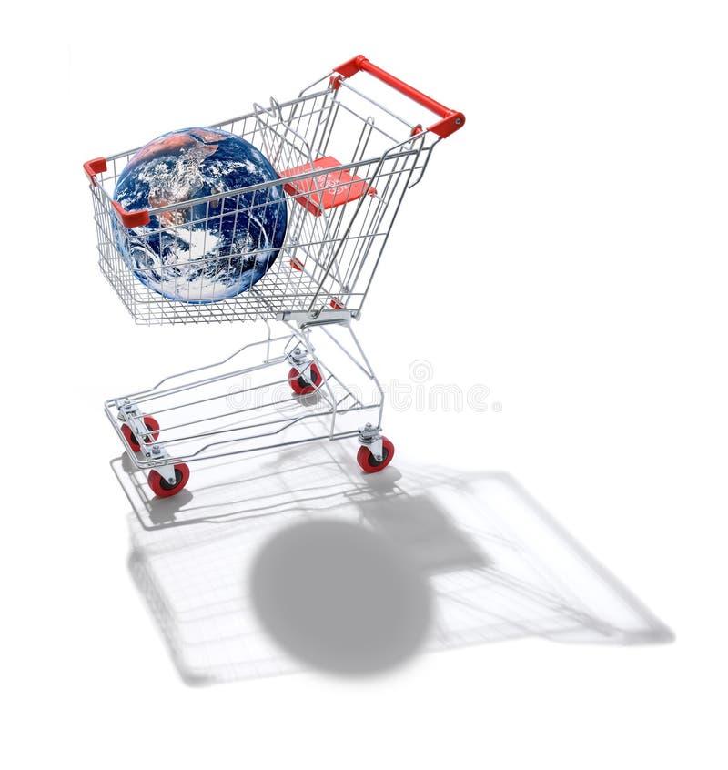Globalización del carro de compras del mundo ilustración del vector