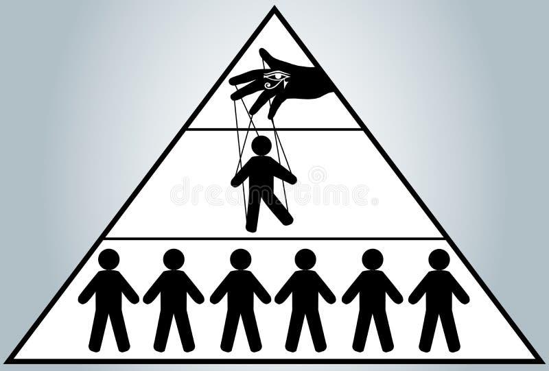Globalización Gestión ocultada de la gente Marioneta del hombre Nuevo orden mundial ilustración del vector