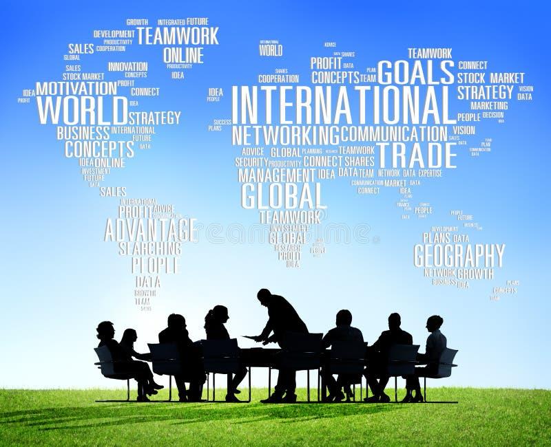 Globalización internacional C internacional de la red global del mundo stock de ilustración