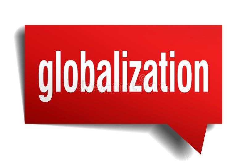 Globalizacja 3d mowy czerwony bąbel royalty ilustracja
