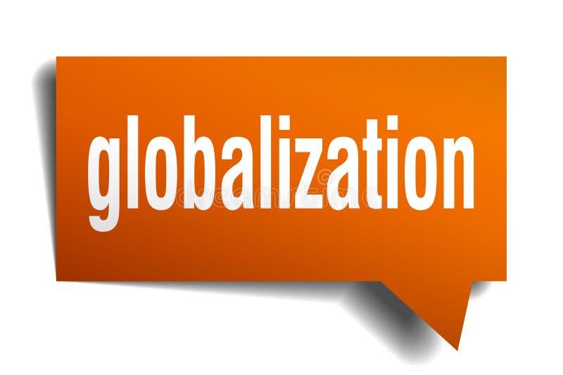 Globalizacja 3d mowy pomarańczowy bąbel royalty ilustracja