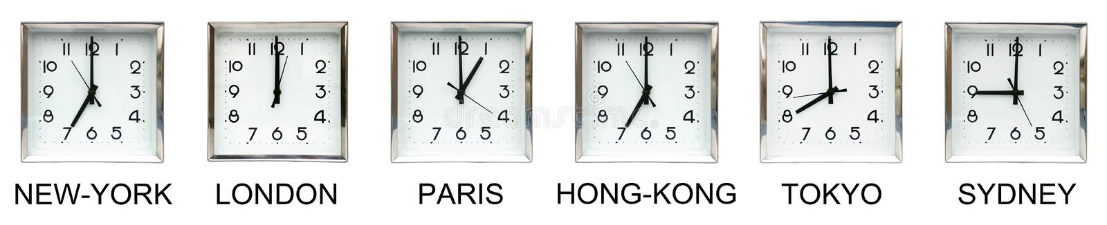 Globalization. Six clocks representing different time zones : great illustration for international business and globalization royalty free illustration