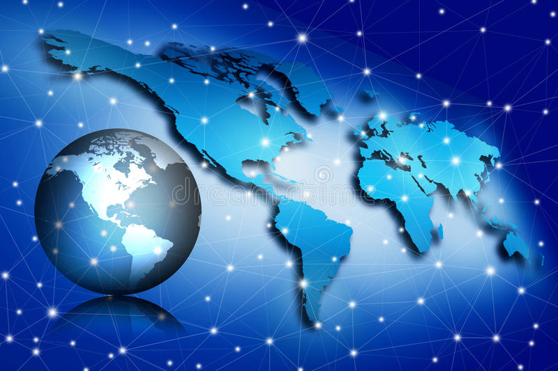 Globalization concept, image of world map. With connecting dots stock illustration