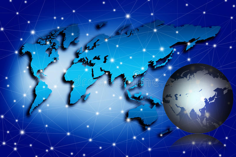 Globalization concept, image of world map. With connecting dots vector illustration