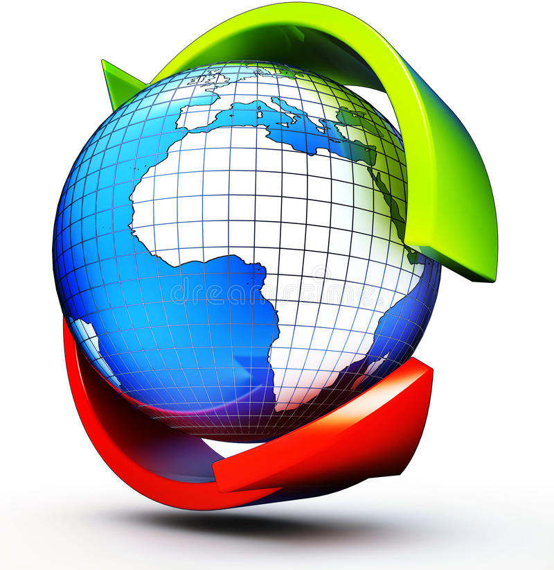 Globalization. 3D illustration of a global concept stock photography