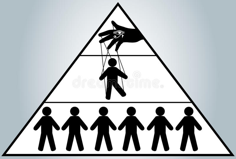 Globalization. Hidden people management. Man puppet. New world order. vector illustration