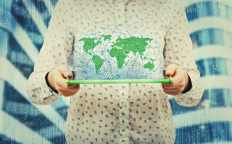Globalization hologram royalty free stock photography
