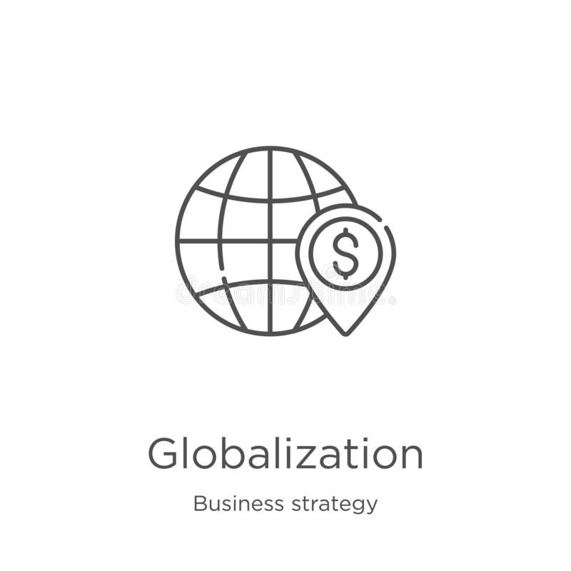 globalization icon vector from business strategy collection. Thin line globalization outline icon vector illustration. Outline, royalty free illustration