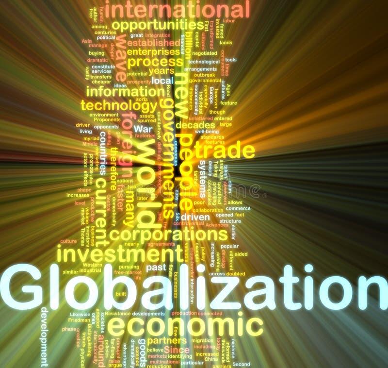 Globalization Wordcloud Glowing Stock Photo