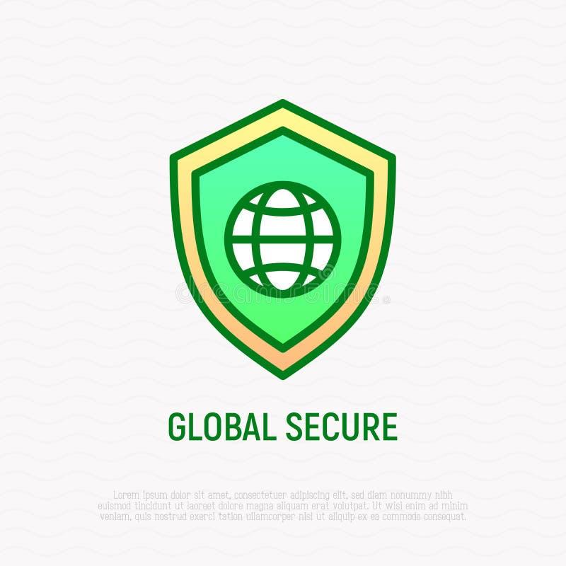 Globalna bezpiecznie cienka kreskowa ikona, osłona z kulą ziemską ilustracji