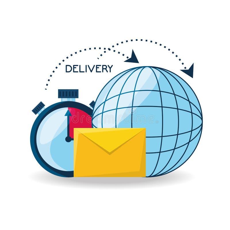 Globalna dostawa z choronometer i e-mailową wiadomością ilustracja wektor
