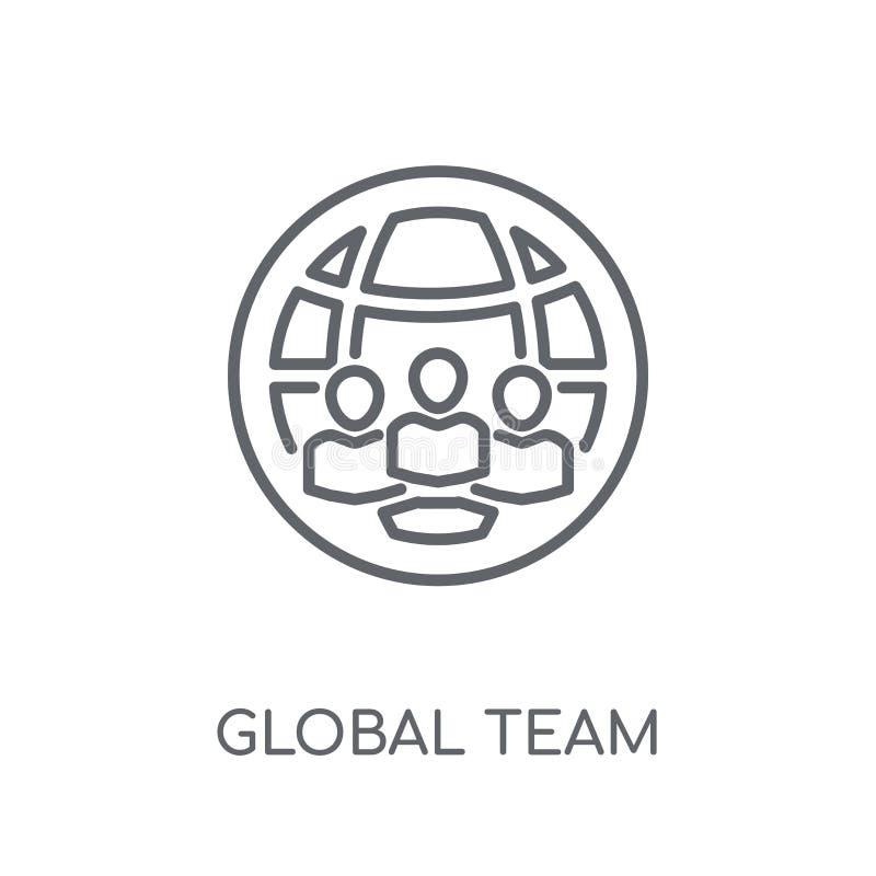 globalna drużynowa liniowa ikona Nowożytnego konturu logo globalny drużynowy pojęcie ilustracja wektor
