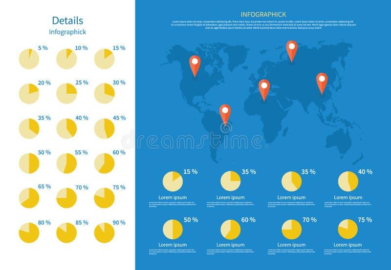 Globalna Infographics mapa i Pasztetowa mapa royalty ilustracja