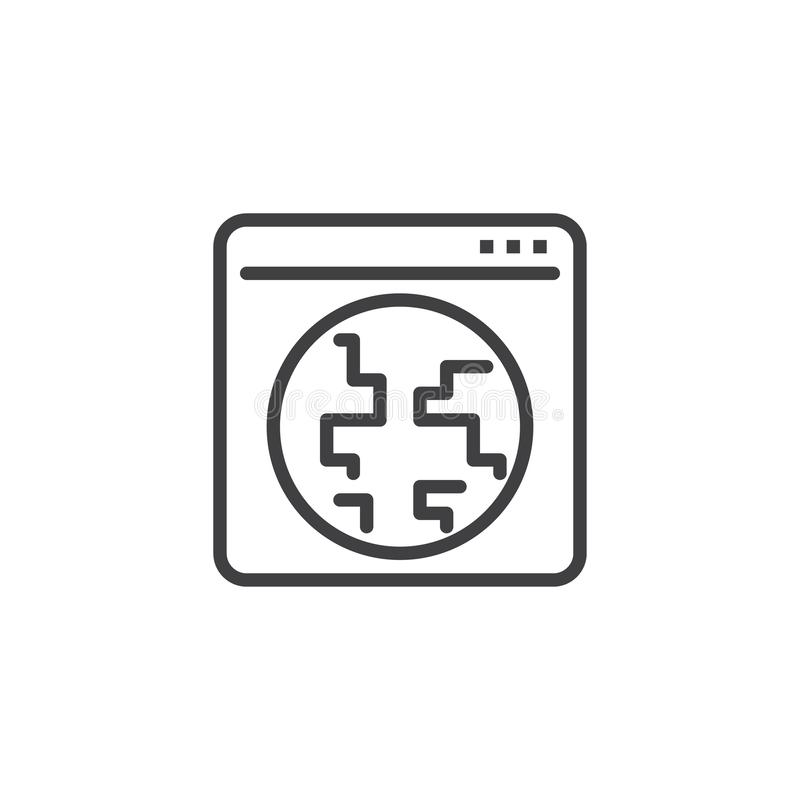 Globalna internet wyszukiwarki okno linii ikona ilustracji