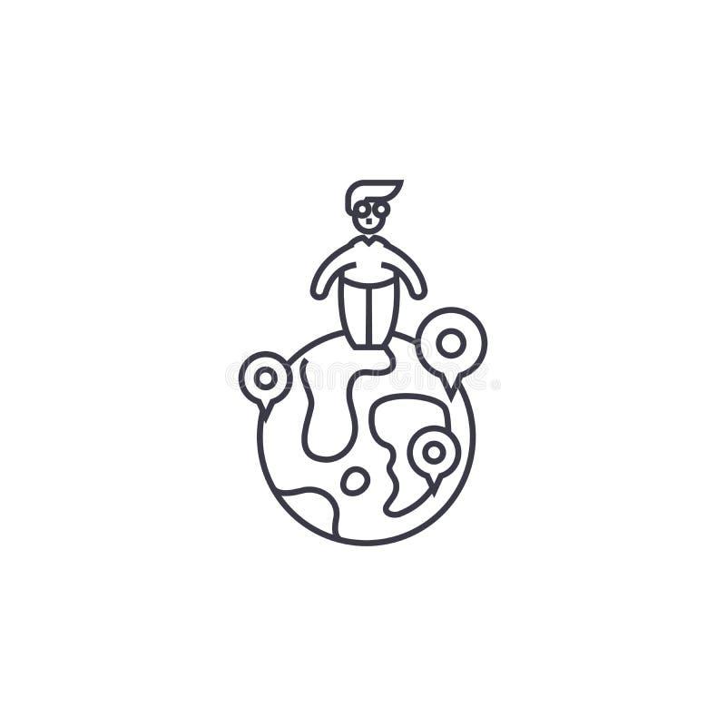 Globalna kompetencja wektoru linii ikona, znak, ilustracja na tle, editable uderzenia ilustracja wektor
