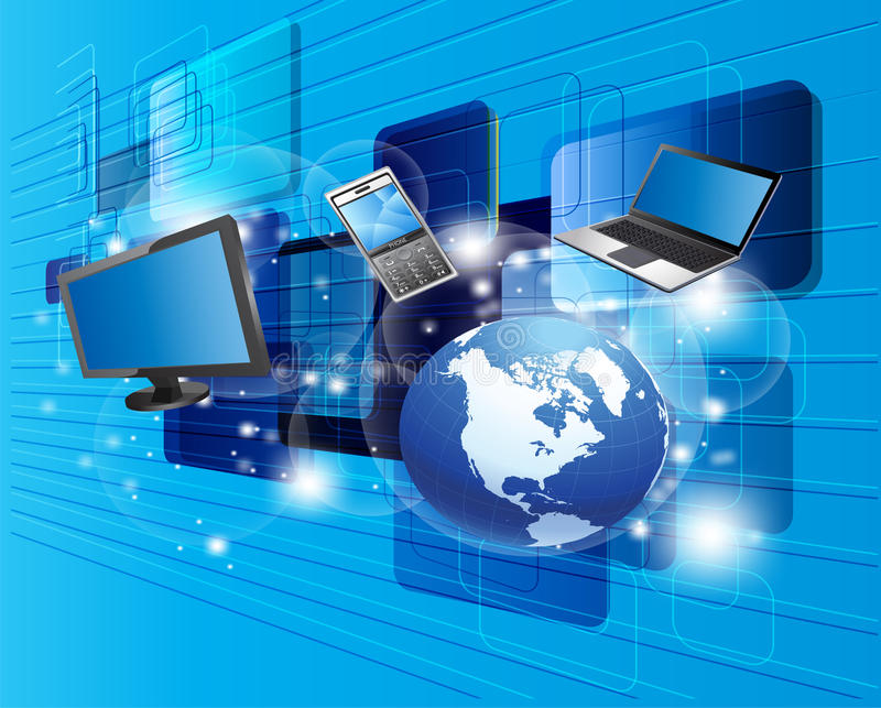 Globalna komunikacja, komputer i nowa technologia, ilustracji