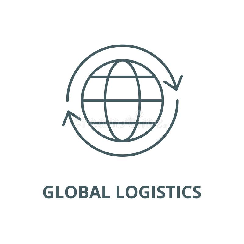Globalna logistyka wektoru linii ikona, liniowy pojęcie, konturu znak, symbol royalty ilustracja