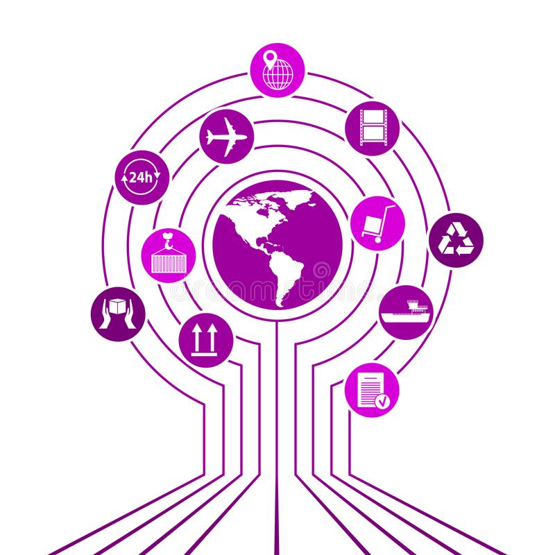 Globalna logistyki sieć Map logistyk partnerstwa globalny związek Białe jednakowe światowej mapy i logistyk ikony ilustracji