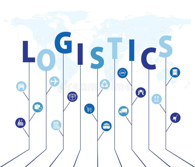 Globalna logistyki sieć Map logistyk partnerstwa globalny związek Wzrostowy drzewny pomysł z globalnymi logistyki sieci pojęciami ilustracja wektor