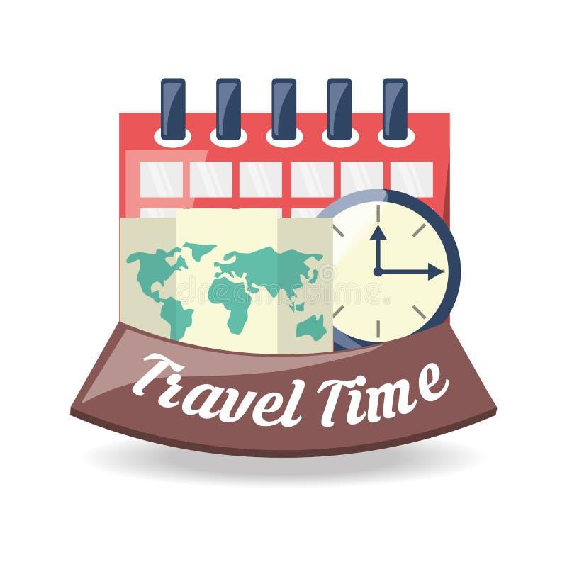 Globalna mapa destinantion podróż z kalendarzem i kompasem ilustracja wektor