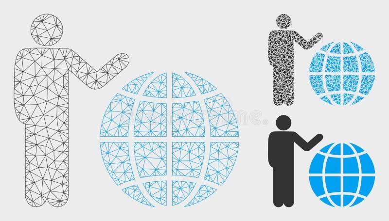 Globalna Marketingowa Wektorowa siatki sieci trójboka i modela mozaiki ikona ilustracji