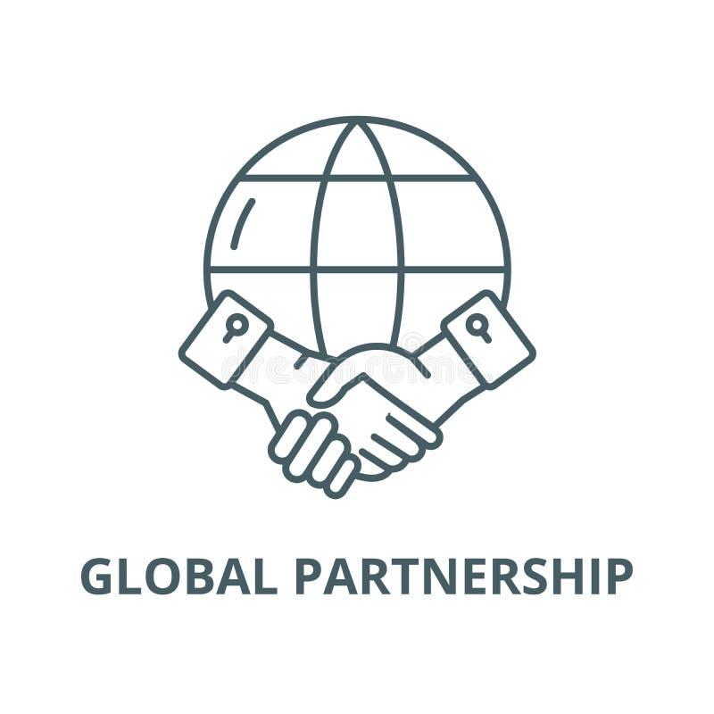 Globalna partnerstwo wektoru linii ikona, liniowy pojęcie, konturu znak, symbol royalty ilustracja
