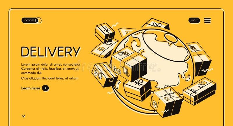 Globalna pocztowa poczta dostawy halftone wektorowa linia ilustracja wektor