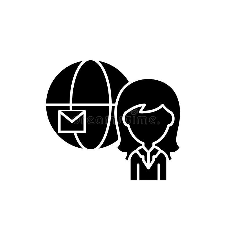 Globalna poczty czerni ikona, wektoru znak na odosobnionym tle Globalny poczty pojęcia symbol, ilustracja ilustracja wektor