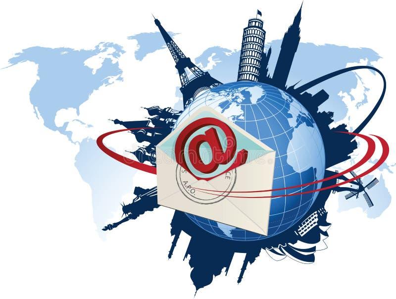 globalna pojęcie poczta e ilustracja wektor