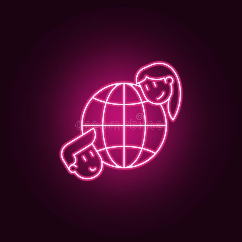 globalna przyjaźni ikona Elementy przyjaźń w neonowych stylowych ikonach Prosta ikona dla stron internetowych, sieć projekt, mobi royalty ilustracja