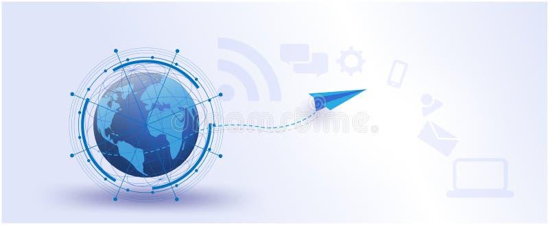 Globalna sieć, internet rzeczy Wektorowy futurystyczny, system, związki, networking socjalny środki komunikacyjna dane nauka ilustracji