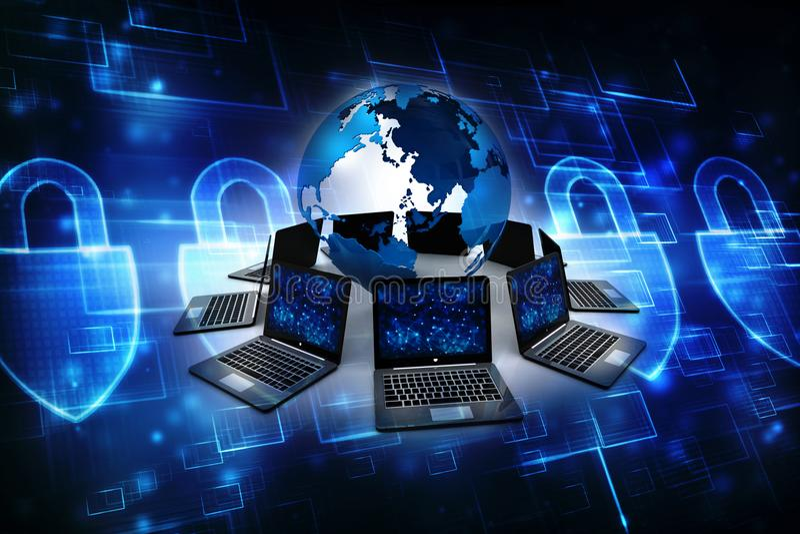 Globalna sieć komputerowa, połączenie z internetem pojęcie ilustracja wektor