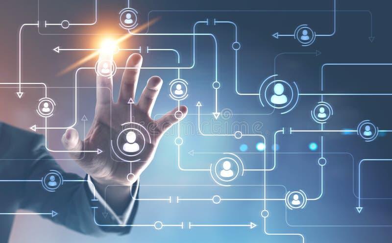 Globalna sieć, mężczyzna ręka, błękitny tło ilustracja wektor