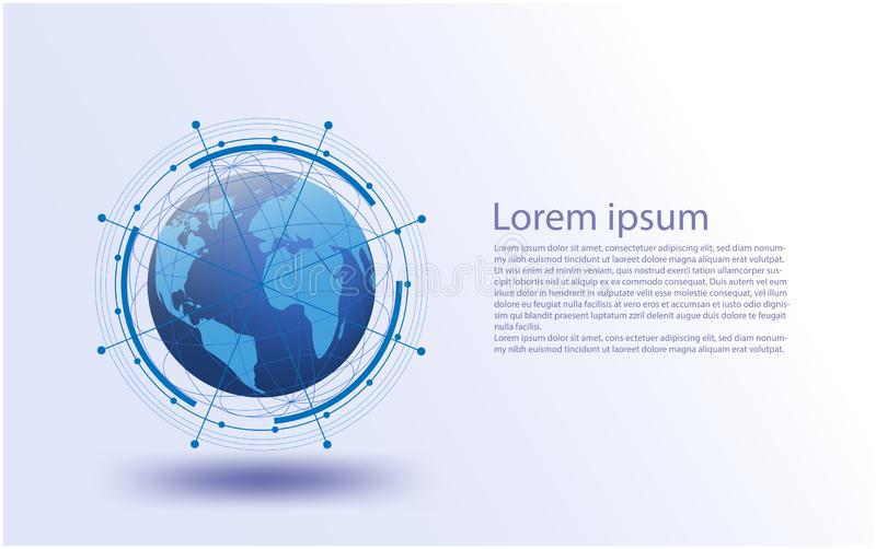 Globalna sieć, Wektorowy futurystyczny, internet rzecz system, związków rzeczy internet, networking futurystyczni ogólnospołeczni royalty ilustracja