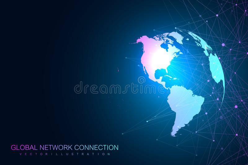 Globalna sieć z światową mapą Abstrakcjonistyczny wektorowy nieskończonej przestrzeni tło Perspektywiczny tło Cyfrowi dane royalty ilustracja