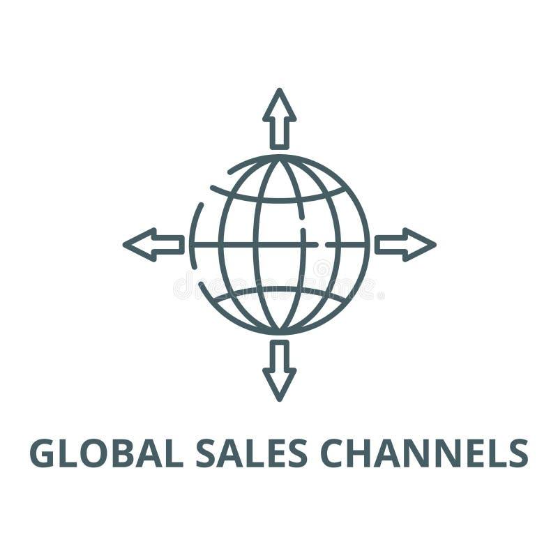 Globalna sprzedaż kanałów wektoru linii ikona, liniowy pojęcie, konturu znak, symbol ilustracja wektor