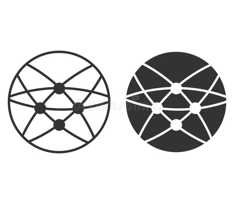 Globalna technologii lub socjalny sieci ikona Kuli ziemskiej ikona odizolowywająca na białym tle również zwrócić corel ilustracji ilustracji