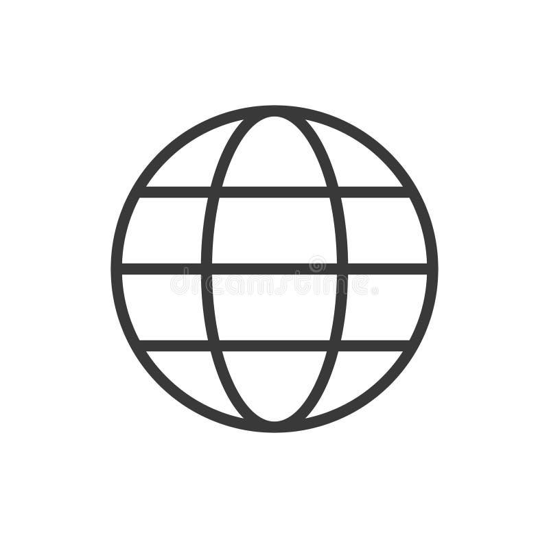 Globalna wektorowa ikona, Round piłka, siatka Kreskowego konturu projekta cienki płaski znak dla sieci, strona internetowa, mobil ilustracja wektor