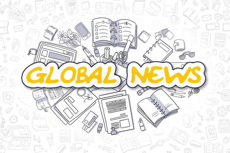 Globalna wiadomość - Doodle Żółty tekst pojęcia prowadzenia domu posiadanie klucza złoty sięgający niebo royalty ilustracja