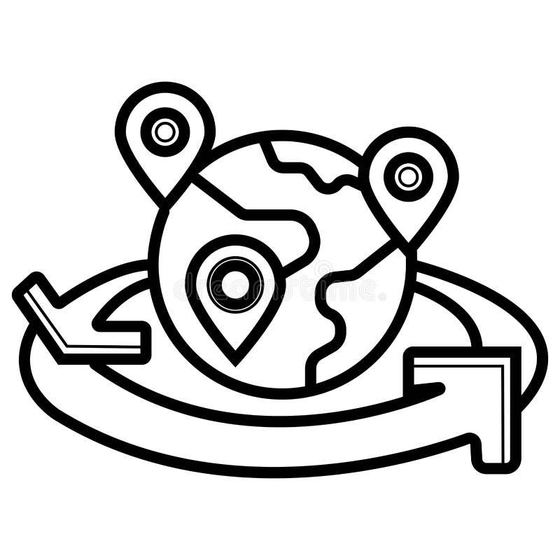 Globalna ?wiatowa mapa z geo lokacj? przyczepia wektorow? ikon? royalty ilustracja