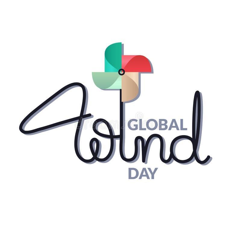 Globalna Wiatrowa dzie? karta Literowanie z kolorowym pinwheel royalty ilustracja