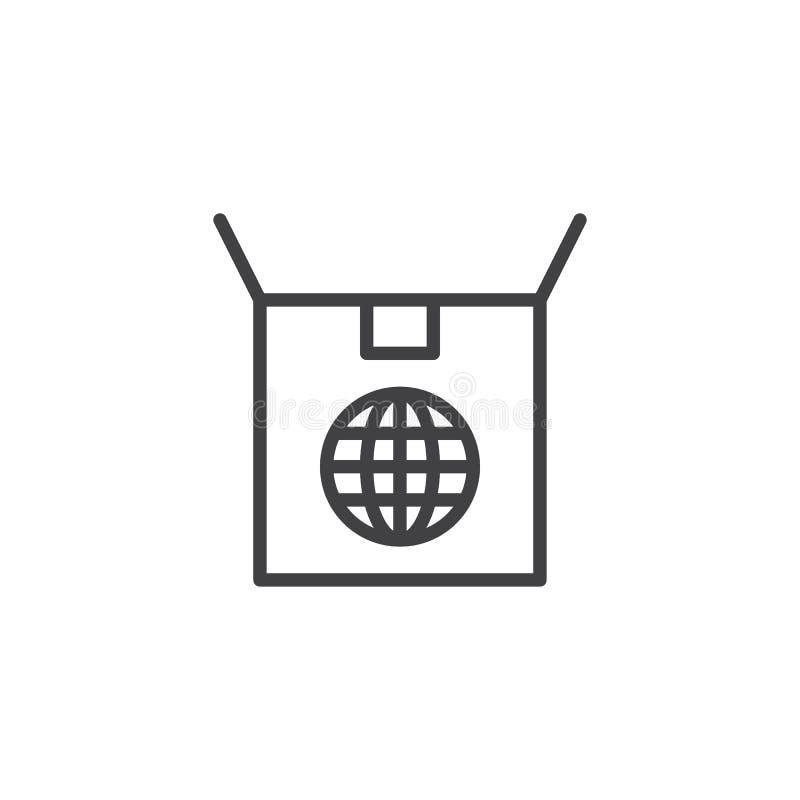 Globalna wysyłki pudełka konturu ikona ilustracji