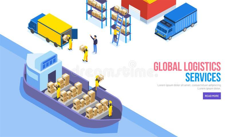 Globalne logistyki Usługują pojęcie, isometric pojazd tak jak shi ilustracja wektor