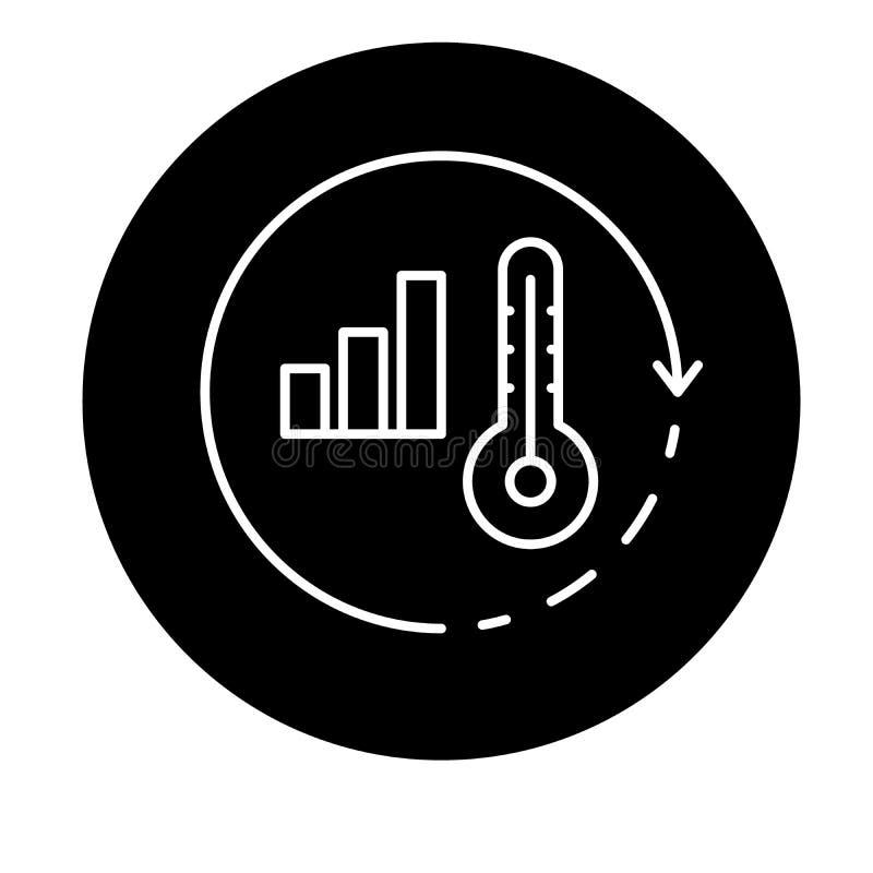 Globalne ocieplenie czarna ikona, wektoru znak na odosobnionym tle Globalnego ocieplenia pojęcia symbol, ilustracja ilustracji