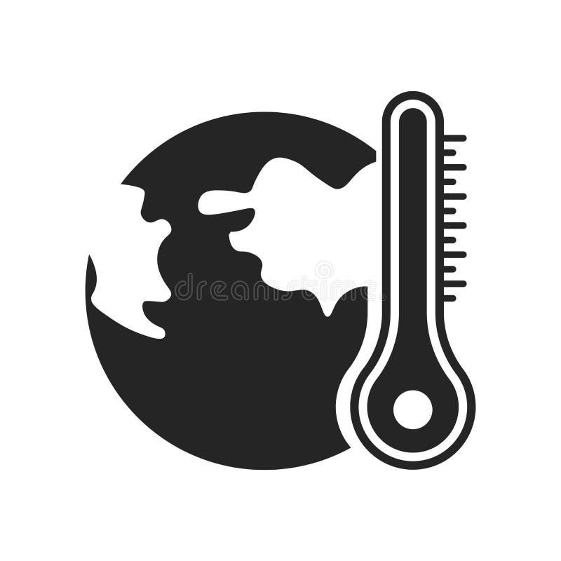 Globalne ocieplenie ikony wektoru znak i symbol odizolowywający na białym bac ilustracja wektor
