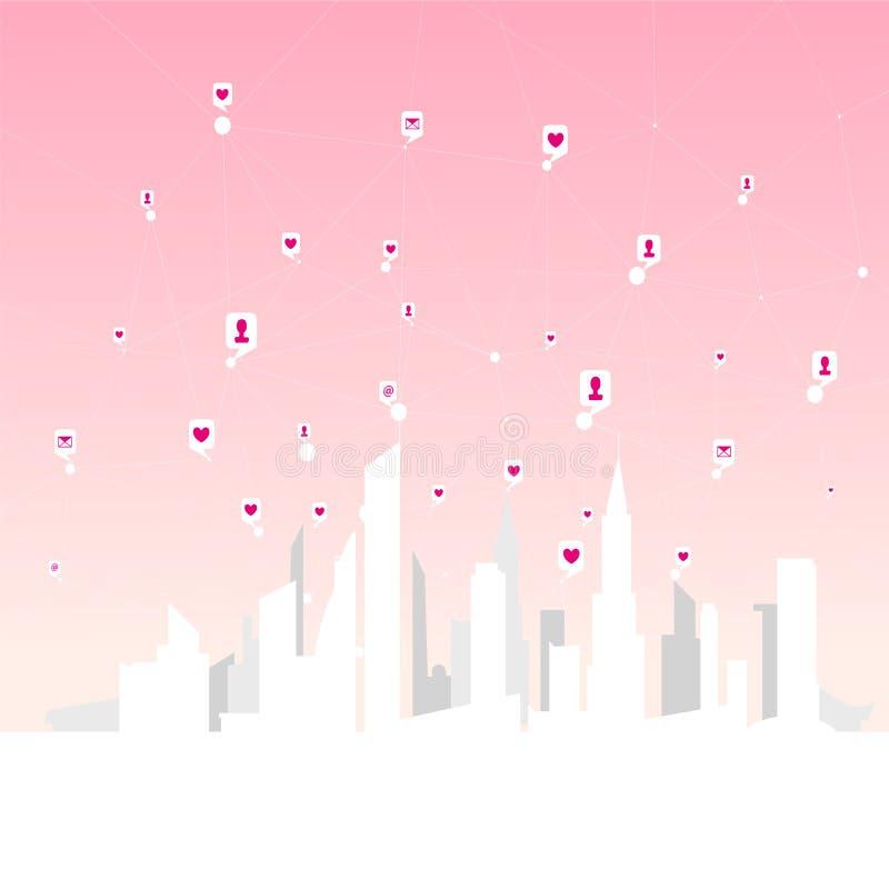 Globalne ogólnospołeczne sieci, sieć osobiści i biznesowi kontakty nad dużym miastem ilustracja wektor