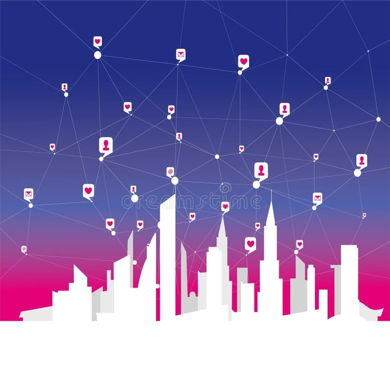 Globalne ogólnospołeczne sieci, sieć osobiści i biznesowi kontakty nad dużym miastem royalty ilustracja