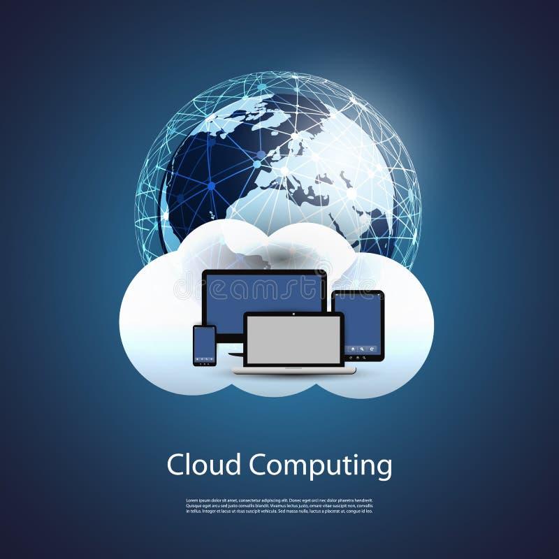 Globalne sieci, chmury Obliczać - ilustracja dla Twój biznesu ilustracji