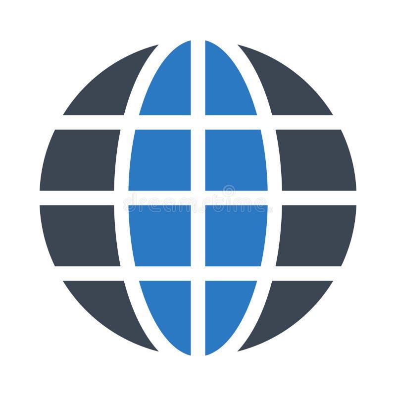 Globalnego glifu koloru płaska wektorowa ikona ilustracja wektor